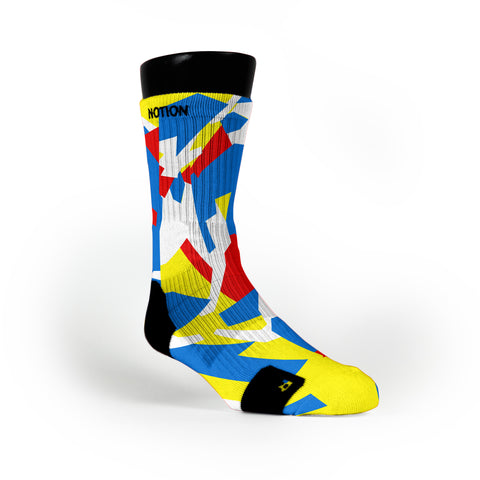 Yellow & Blue & Red Hardwood Camo Custom Notion Socks