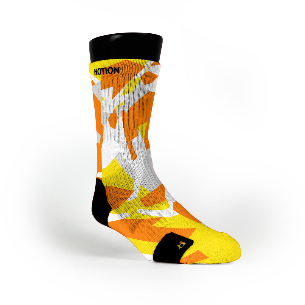Yellow & Orange Hardwood Camo Custom Notion Socks