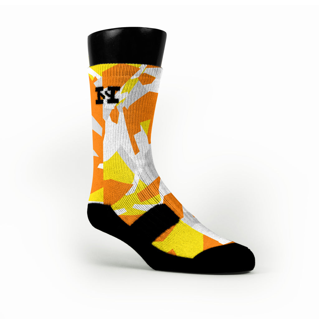 Yellow & Orange Hardwood Camo Custom HoopSwagg Socks