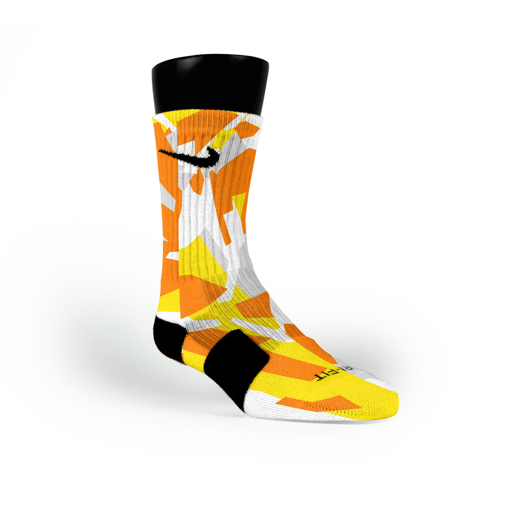Yellow & Orange Hardwood Camo Custom Nike Elite Socks