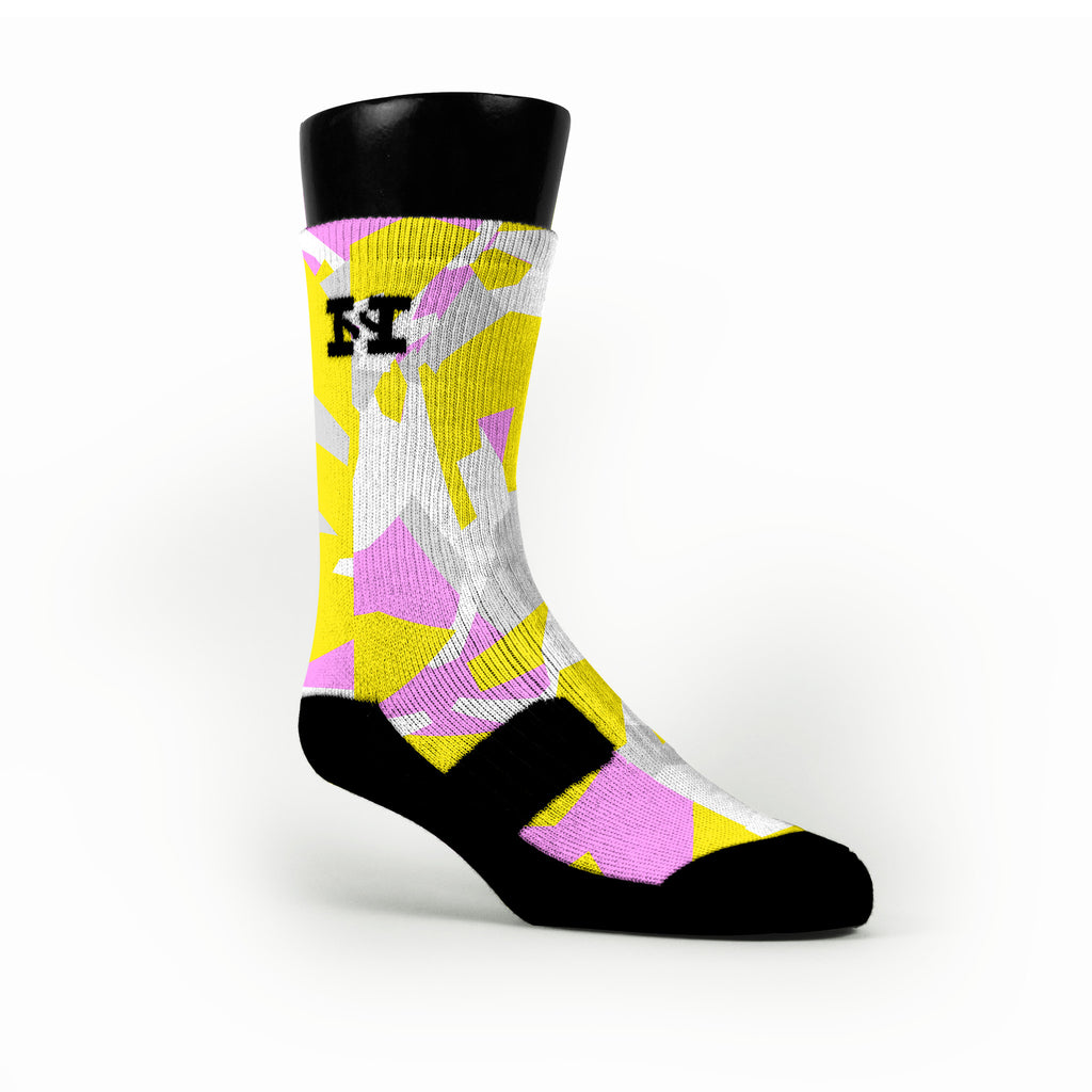 Yellow & Pink Hardwood Camo Custom HoopSwagg Socks