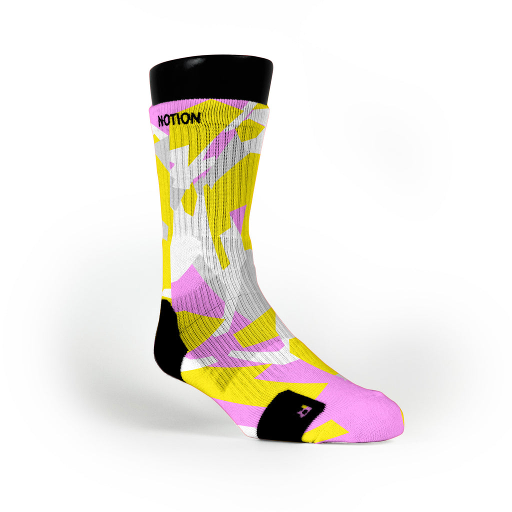 Yellow & Pink Hardwood Camo Custom Notion Socks