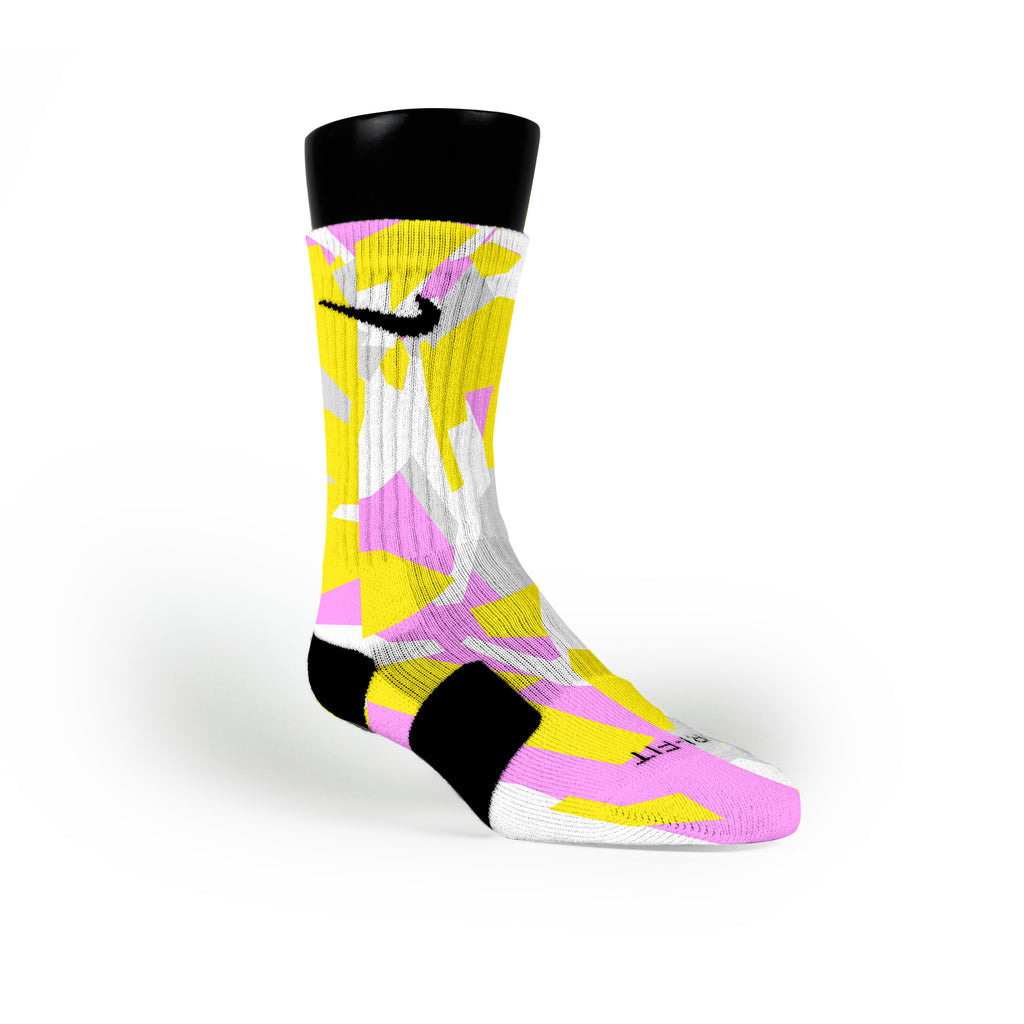 Yellow & Pink Hardwood Camo Custom Nike Elite Socks