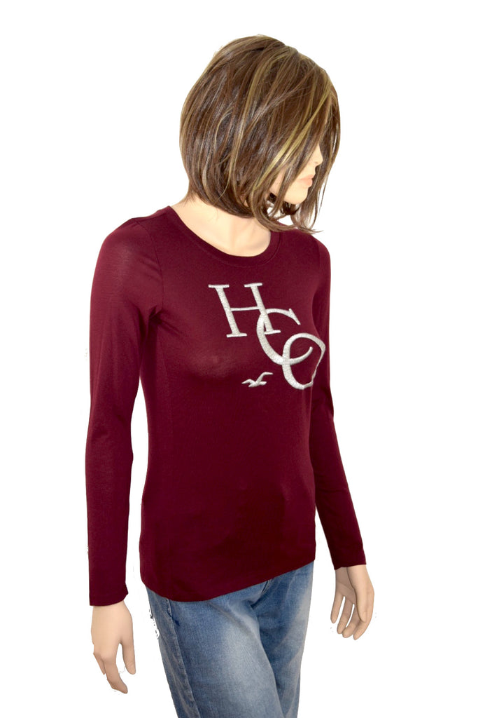 Hollister Damen Woman Girl Shirt rot weinrot red langarm *** 357-586-0015-522 ***