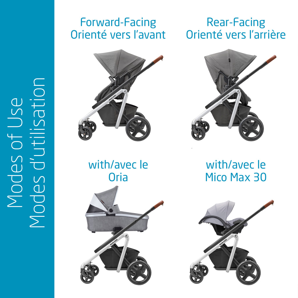 Lila Stroller + Mico Max Car Seat + Oria Carry Cot Bundle - Nomad Grey