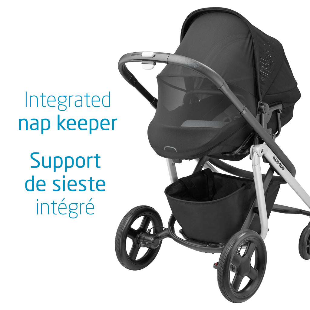 Lila Stroller + Mico Max Car Seat + Oria Carry Cot Bundle - Nomad Black