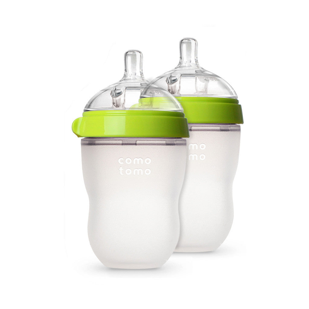 como tomo baby bottle silicone green