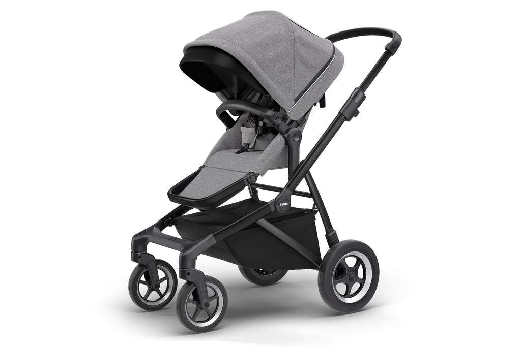 Sleek Stroller - Grey Melange on Black