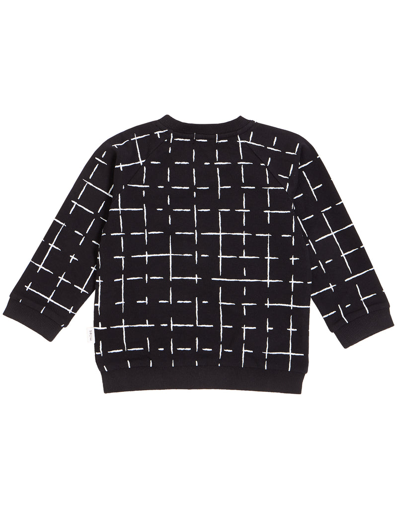Grid Crew Neck Sweatshirt - Black/White
