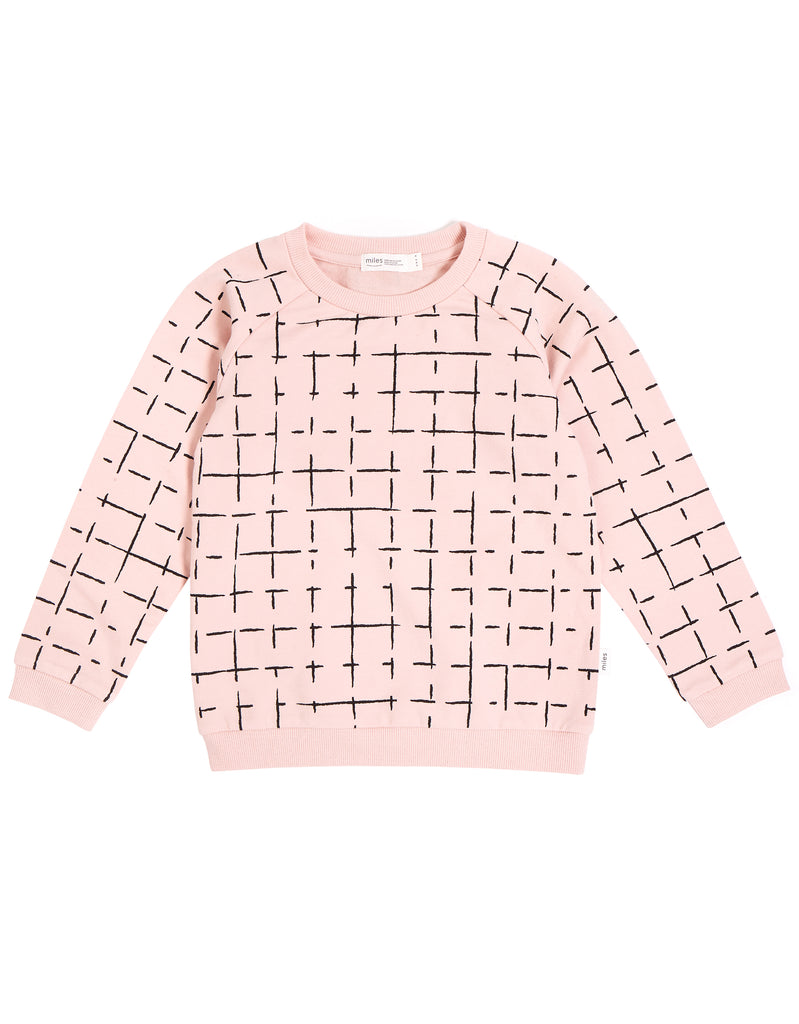 Grid Crew Neck Sweatshirt - Light Pink/Black (Size 4T Only)