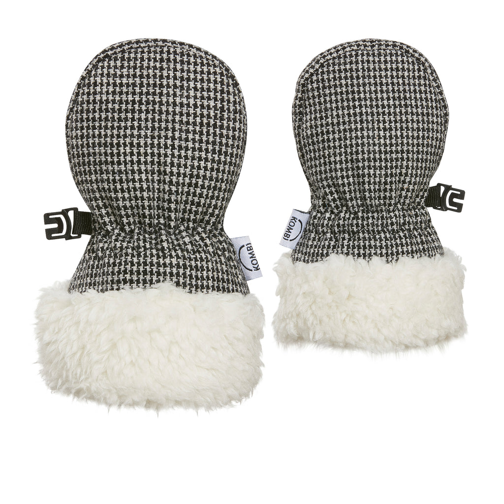 kombi tiny hip wool blend infant mittens black houndstooth