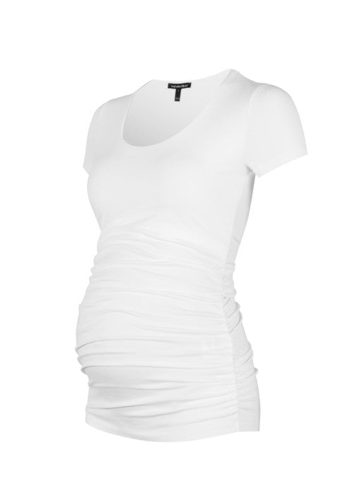 Cap Scoop Maternity Top - White