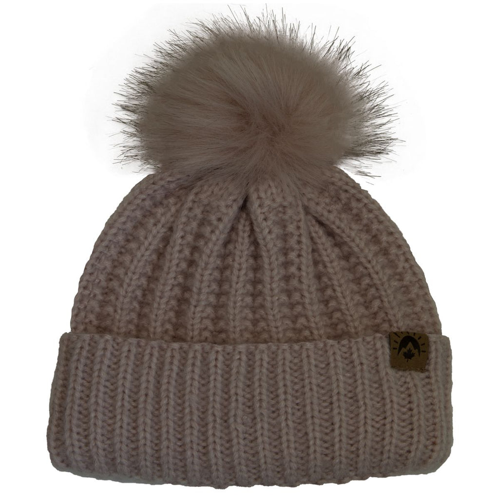 Knit Pompom Winter Hat - Pink