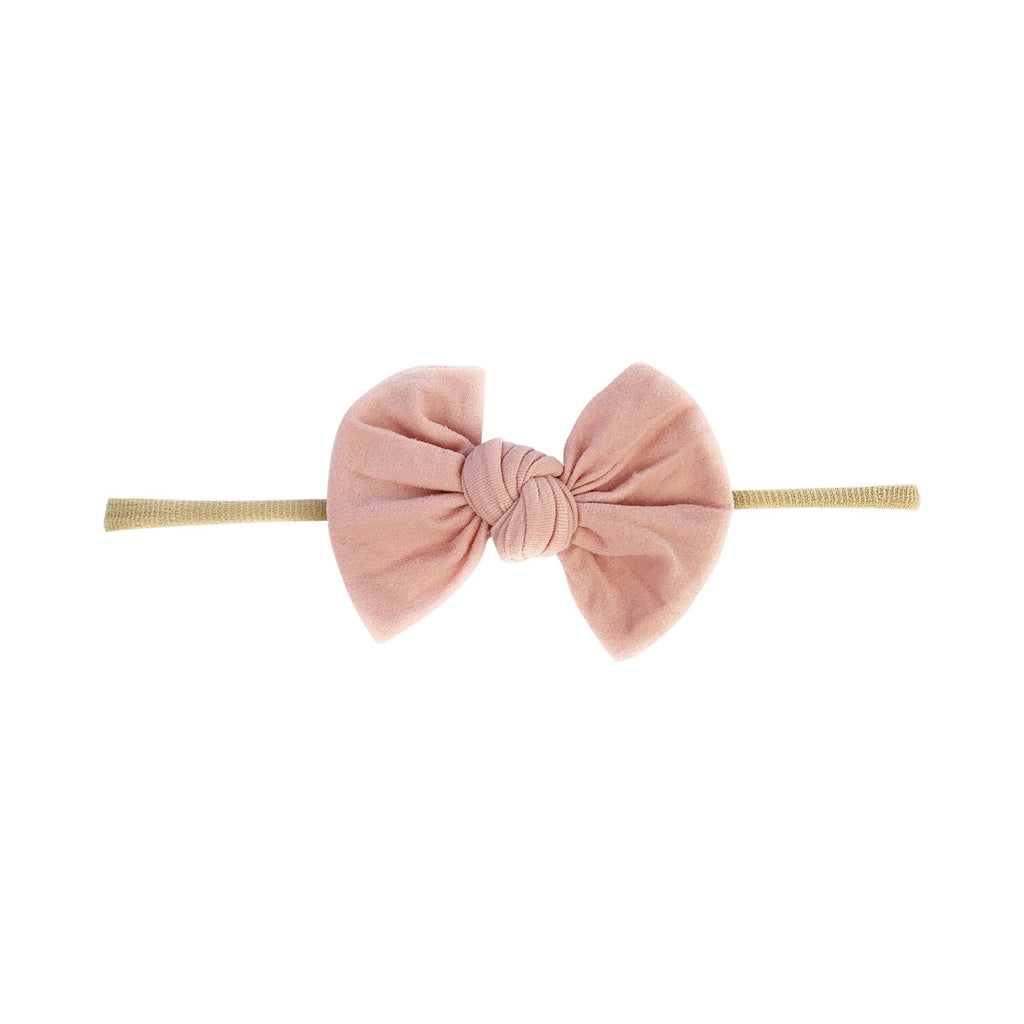 Knotted Bow Skinny Headband - Dusty Rose