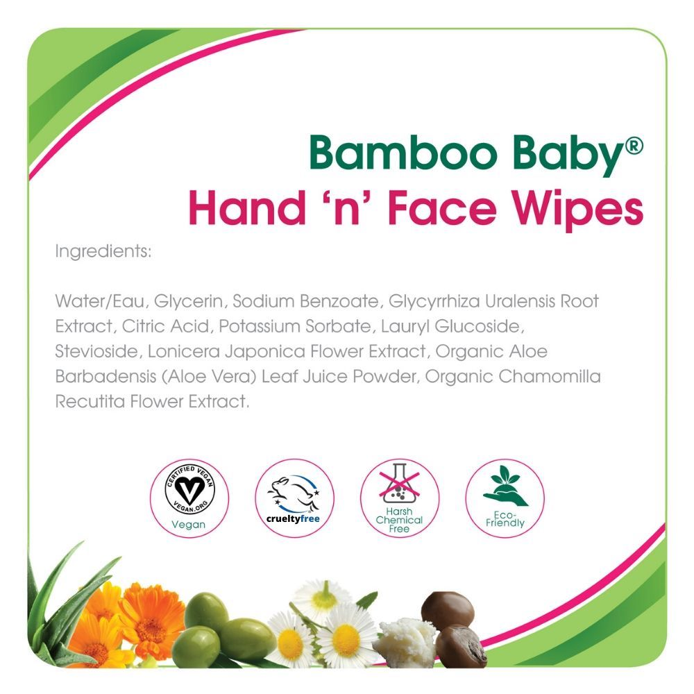 Bamboo Baby Hand and Face Wipes (30 pk)