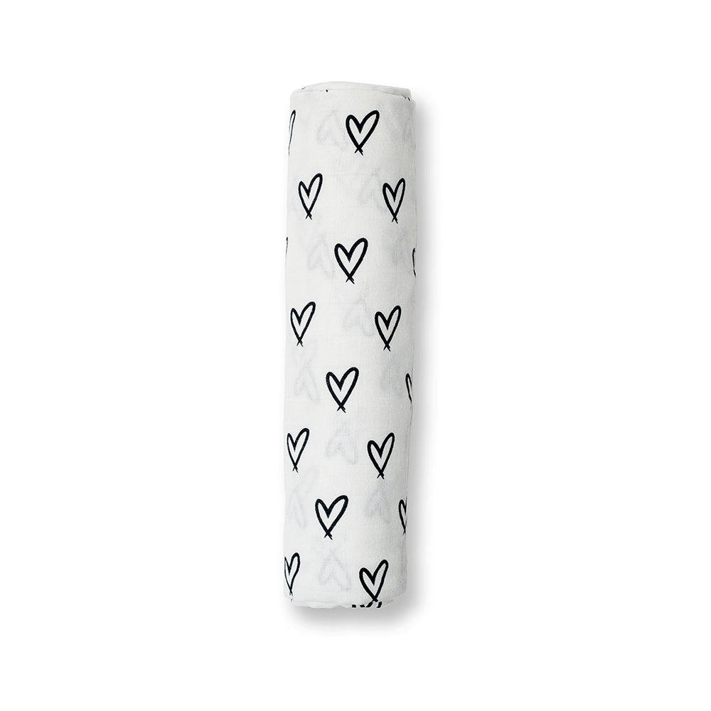 Modern Collection Bamboo Swaddle Blanket - Hearts