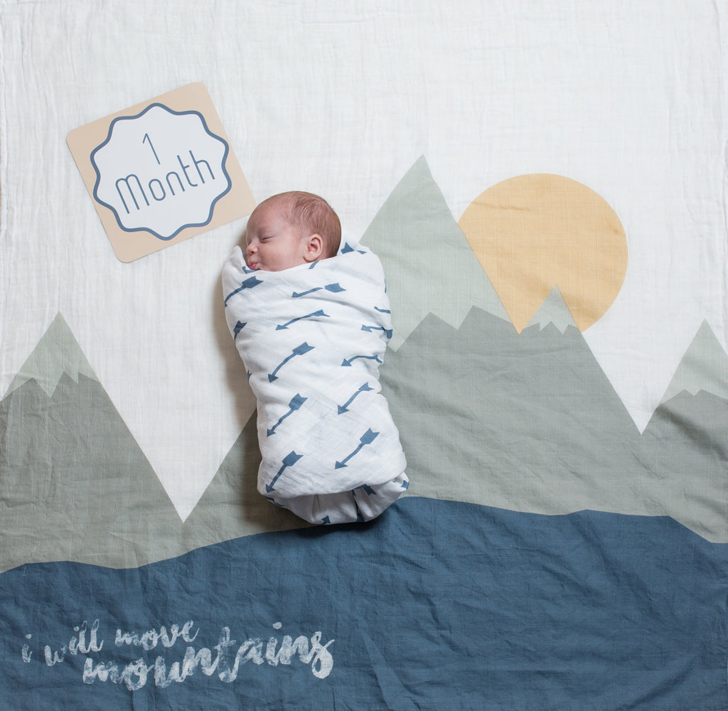 Baby's First Year Milestone Cards & Blanket Set - I Will Move Mountains