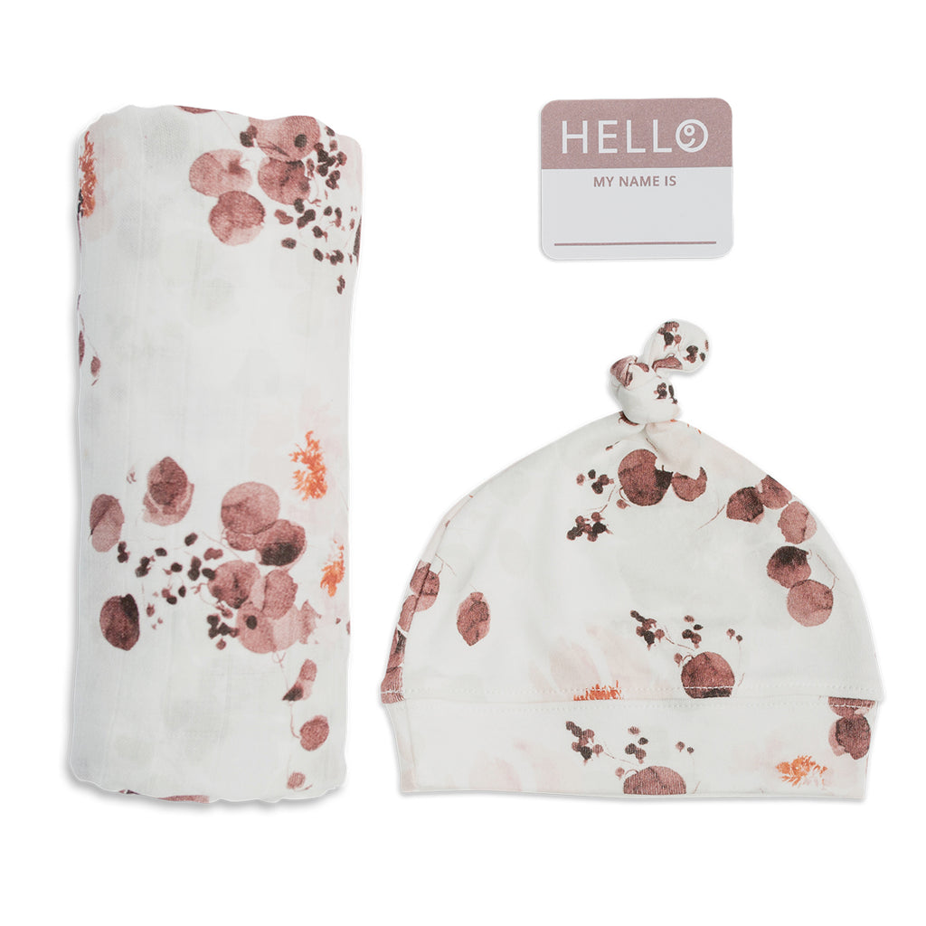 Hello World! Swaddle and Knotted Hat Set - Eucalyptus
