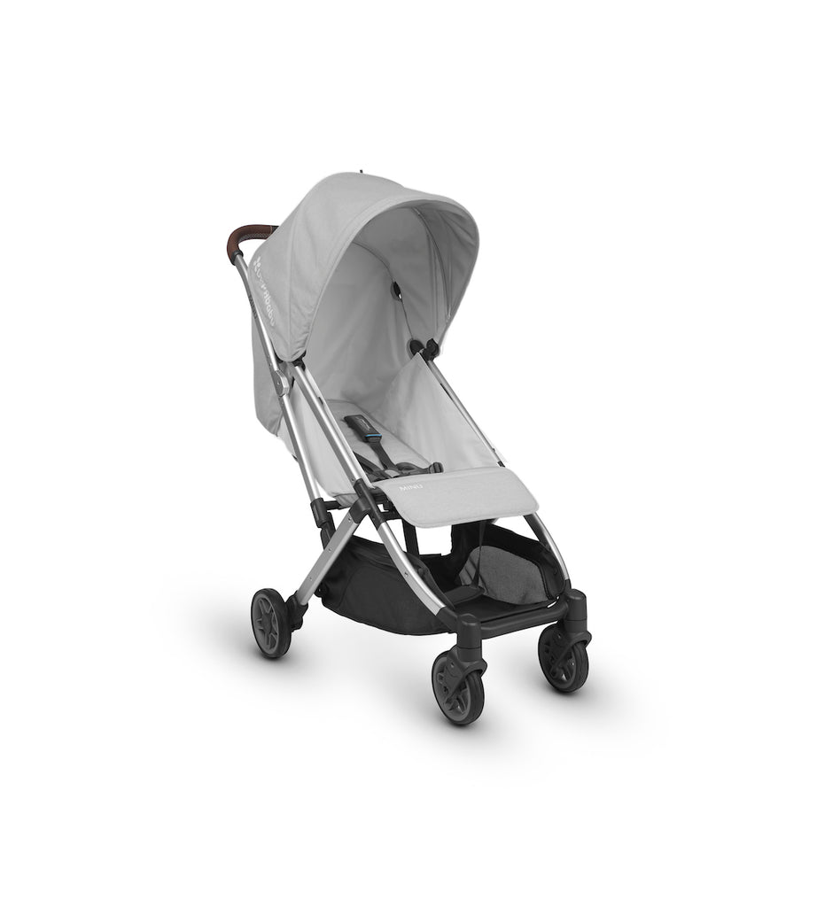 MINU Lightweight Travel Stroller - DEVIN (White Grey Melange/Silver/Chestnut Leather)