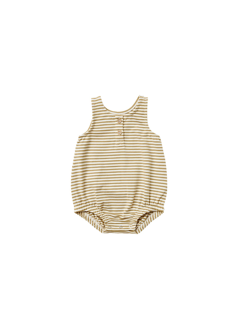 Sleeveless Bubble Romper - Gold Stripe