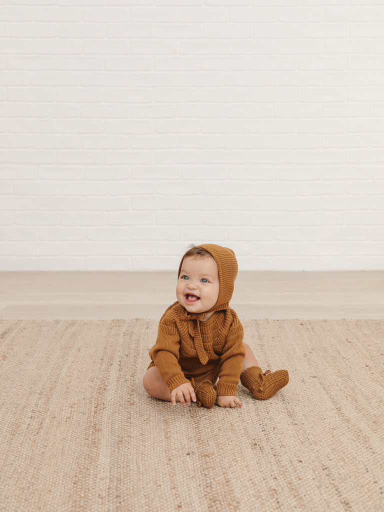Knit Dalia Romper - Walnut