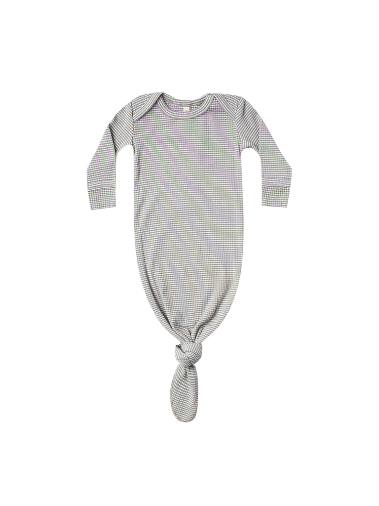 Ribbed Knotted Baby Gown - Eucalyptus Stripe