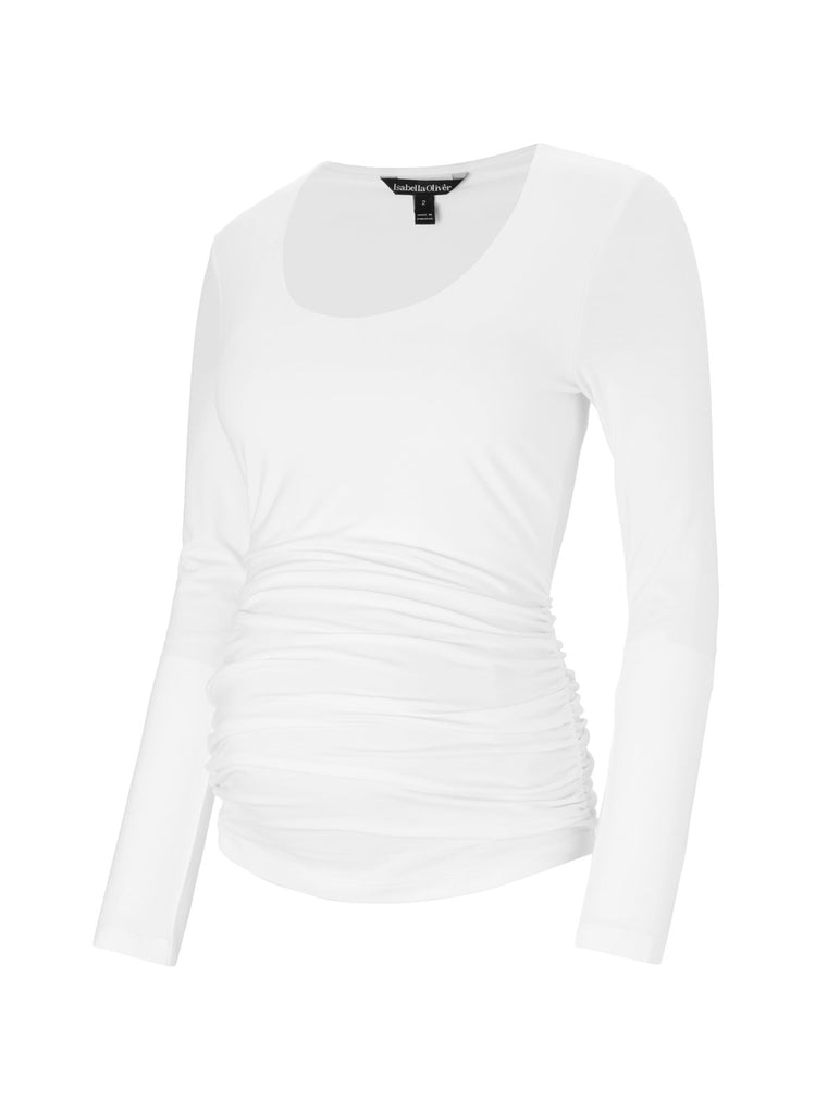 Long Sleeve Scoop Maternity Top - White