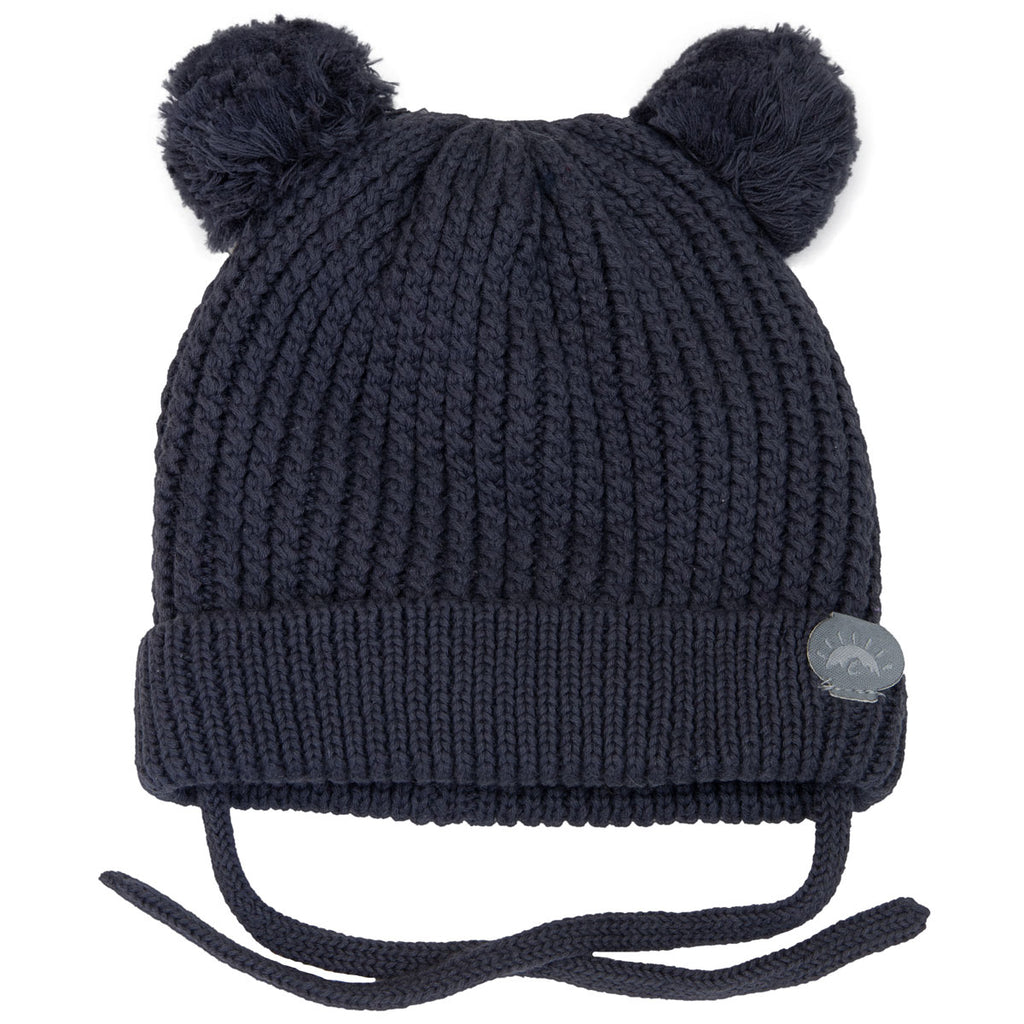 Knit Pom Pom Bear Hat - Charcoal