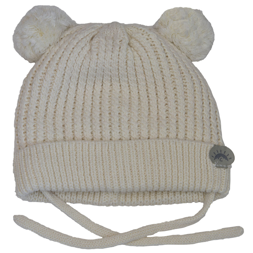 Knit Pom Pom Bear Hat - Cream