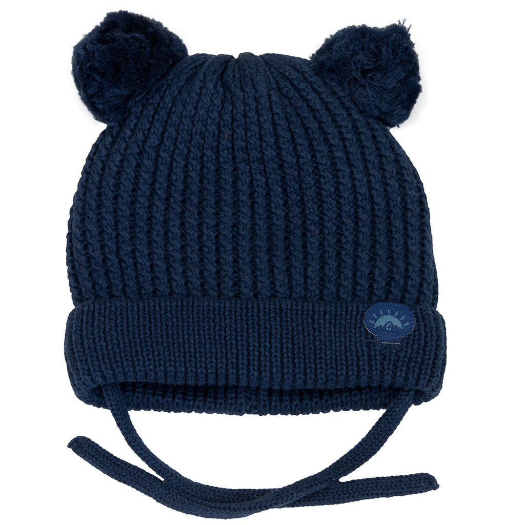 Knit Pom Pom Bear Hat - Navy