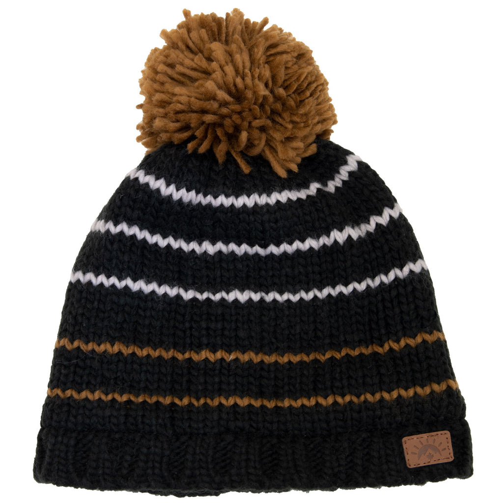 Knit Stripe Pom Pom Hat (2-5yrs) - Black