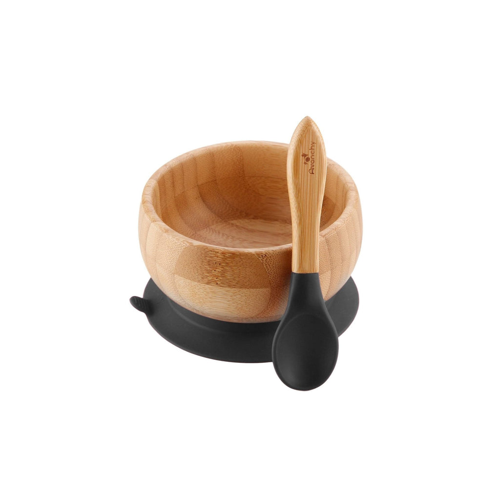 Stay Put Bamboo Suction Baby Bowl + Spoon