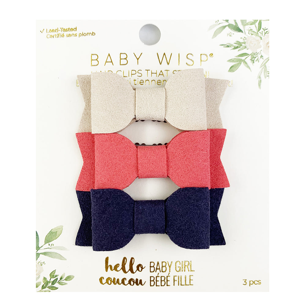 baby wisp mia mini latch bows 3 pack tan coral navy