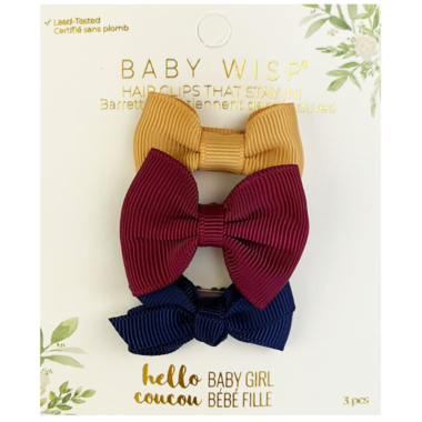 baby wisp mini latch bow 3 pack vintage gold burgundy navy