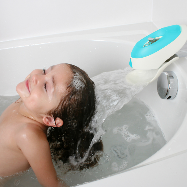 boon flo water deflecting faucet cover with bubble bath dispenser