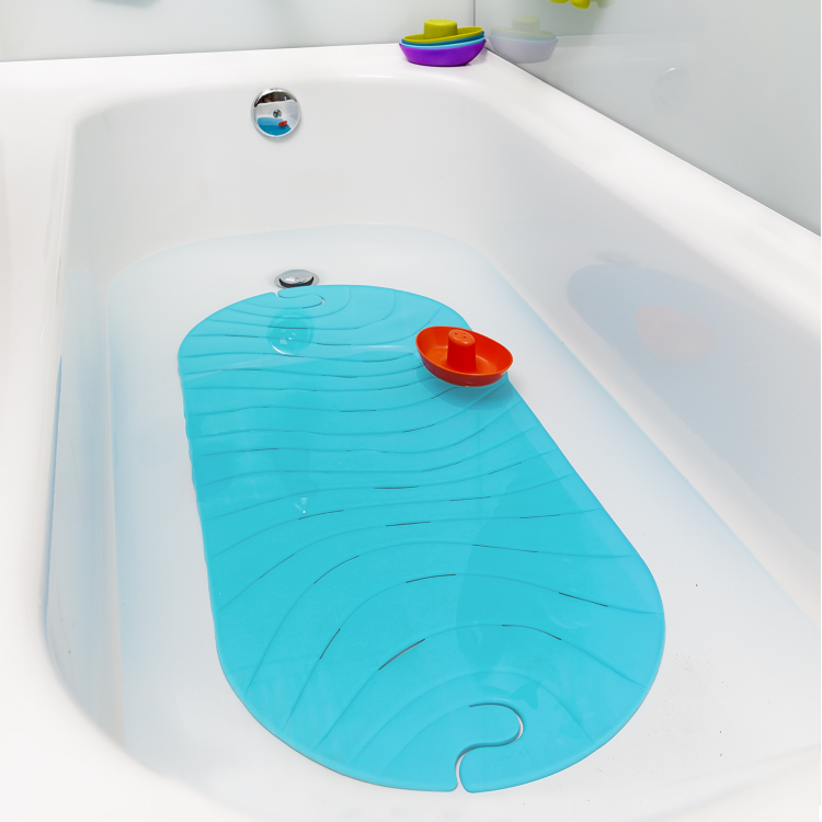 boon ripple bath mat blue