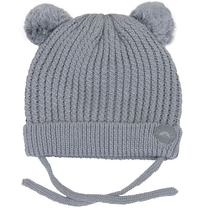 Knit Pom Pom Bear Hat - Grey