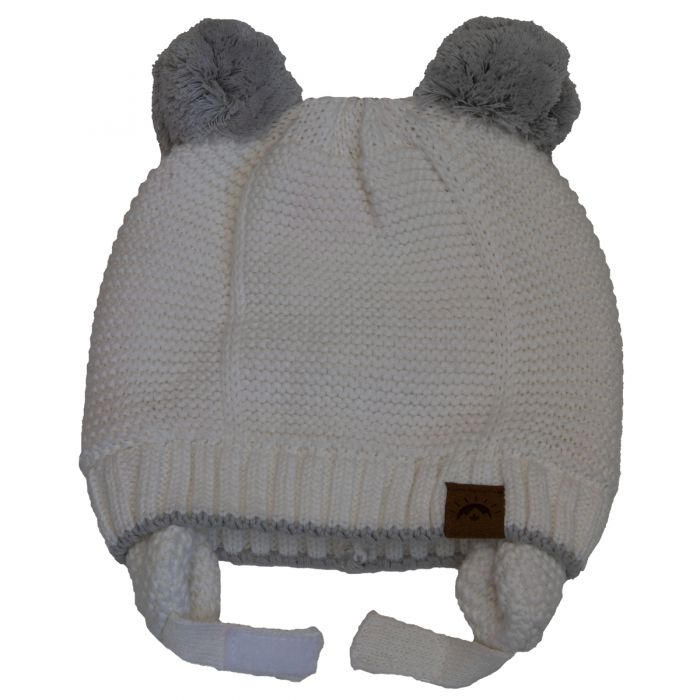 Cotton Knit Double Pompom Hat - Snow White