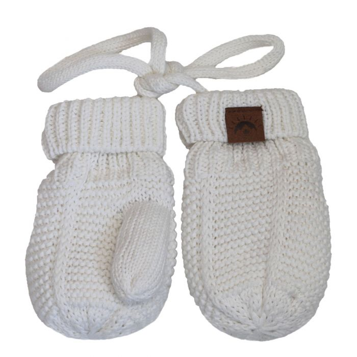Cotton Knit Mittens - Snow White