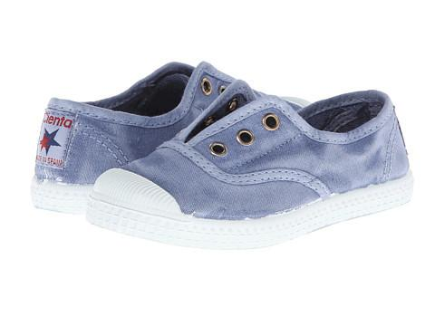 Distressed Canvas Laceless Sneakers - Blue Wash