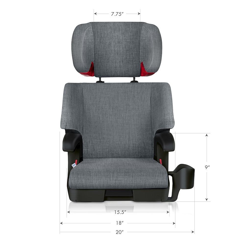 clek oobr high back booster seat dimensions front