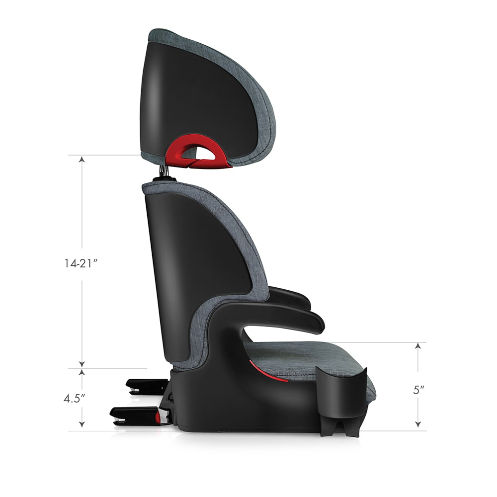 clek oobr high back booster seat dimensions side