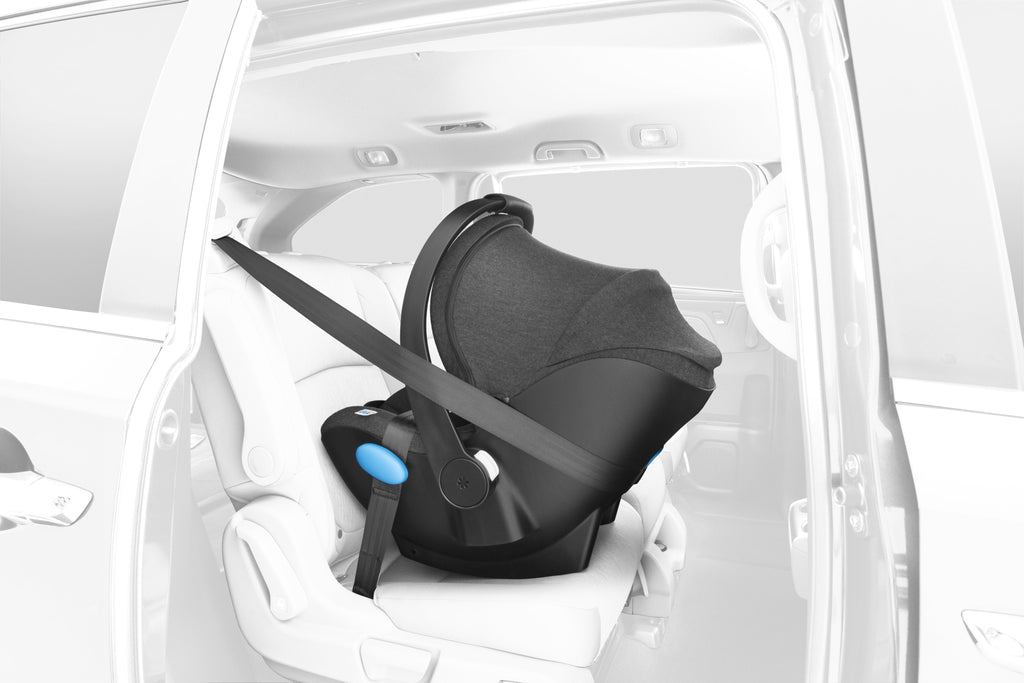 clek liing infant car seat european belt install