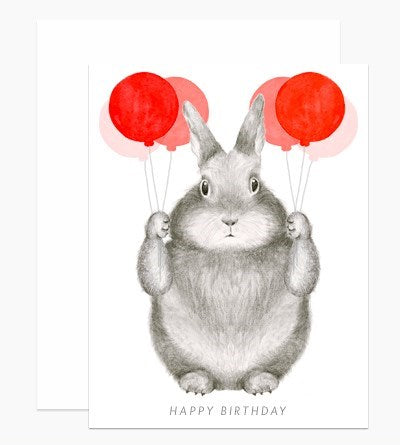 Bunny with Balloons Birthday Card
