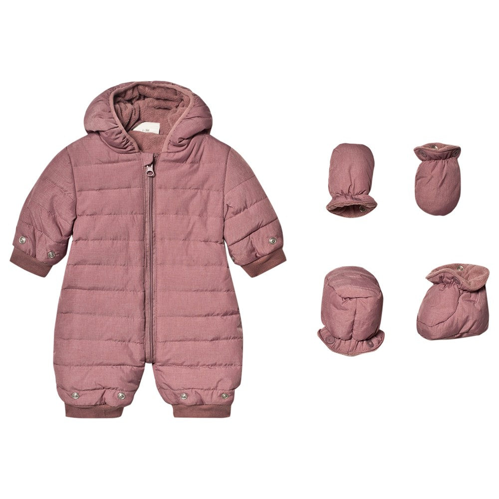 Infant Hooded Snowsuit - Rose Taupe