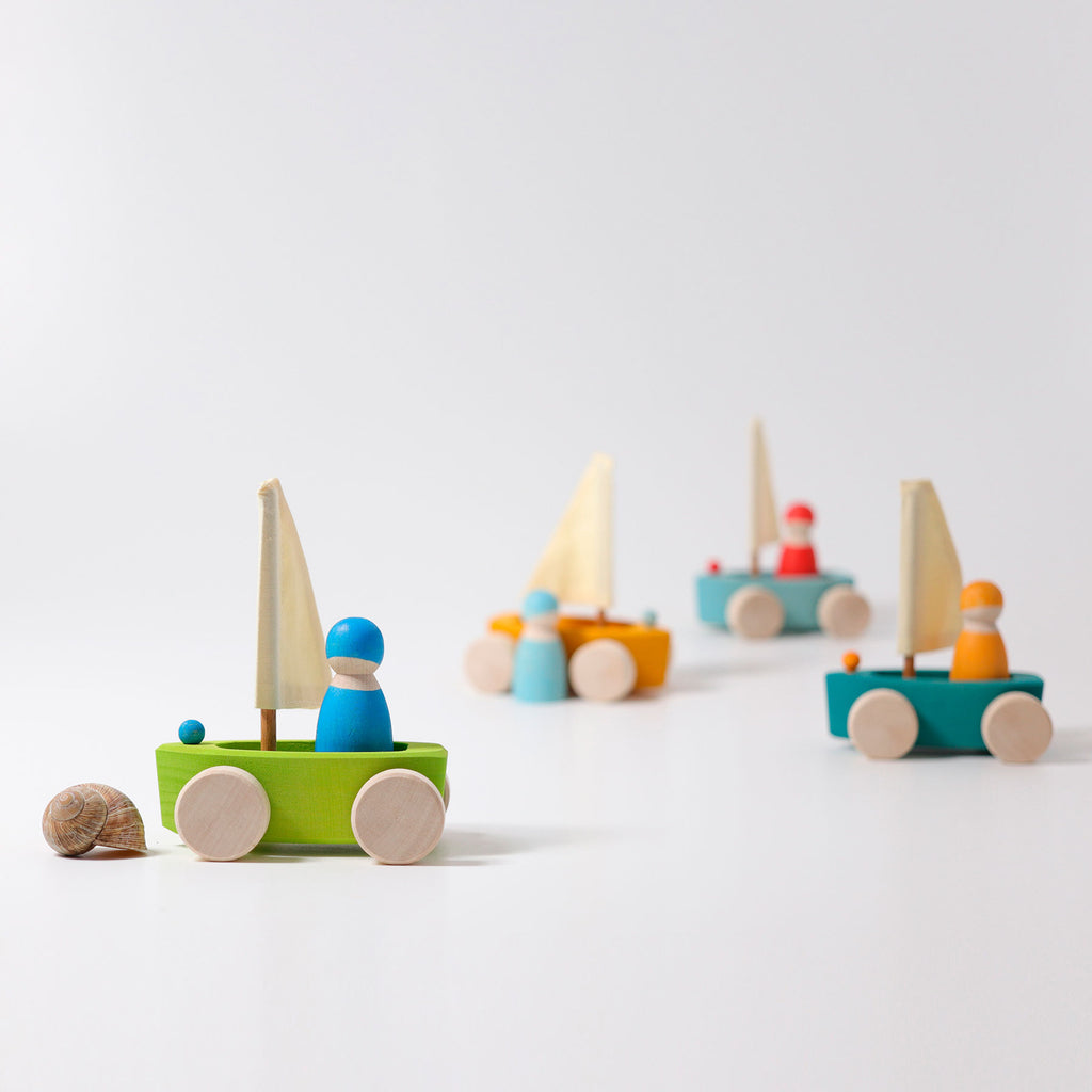 Little Land Yachts with Sailors (Set of 4)