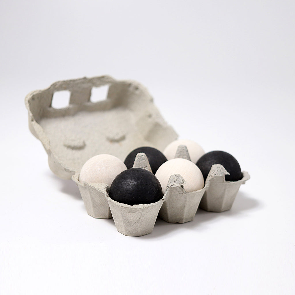 Wooden Monochrome Balls (Set of 6)