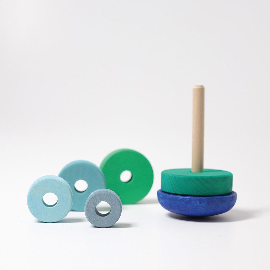 grimms wobbly stacking toy blue green