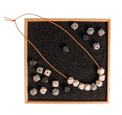 Monochrome Wooden Gems and Thread Set