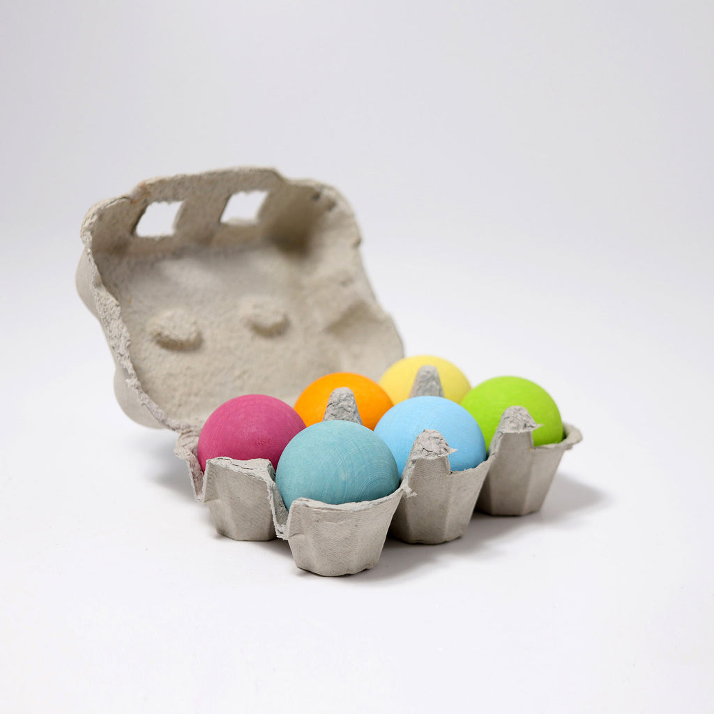 grimms wooden pastel balls set of 6
